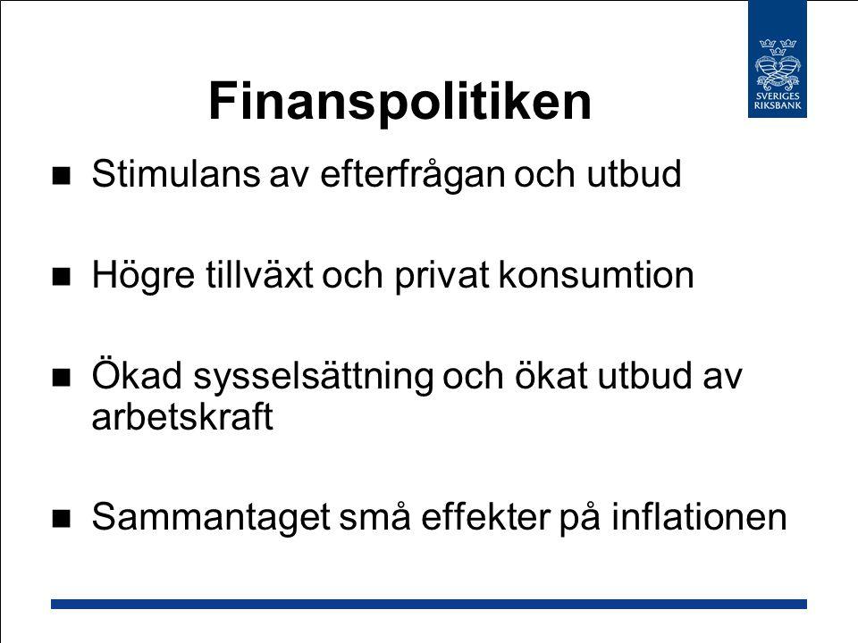 Finanspolitiken Stimulans av efterfrågan och utbud Högre tillväxt och privat konsumtion Ökad sysselsättning och ökat utbud av arbetskraft Sammantaget små effekter på inflationen