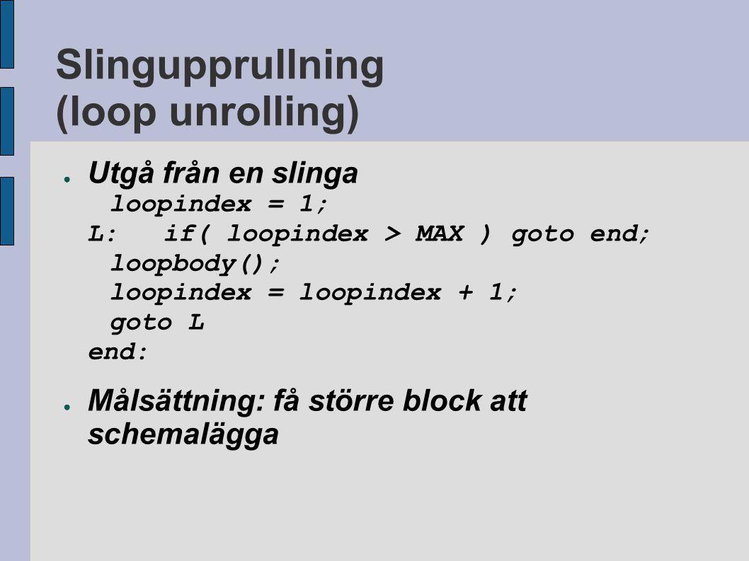 Slingupprullning (loop unrolling) ● Utgå från en slinga loopindex = 1; L:if( loopindex > MAX ) goto end; loopbody(); loopindex = loopindex + 1; goto L end: ● Målsättning: få större block att schemalägga