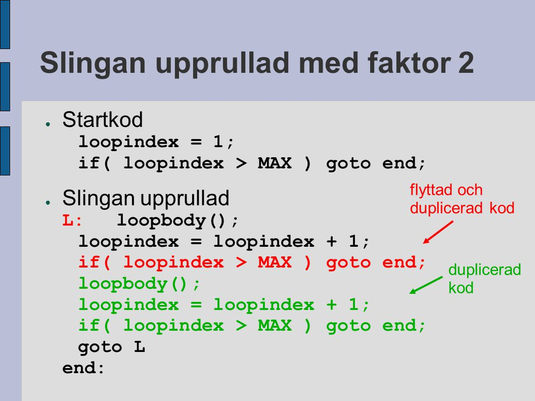Slingan upprullad med faktor 2 ● Startkod loopindex = 1; if( loopindex > MAX ) goto end; ● Slingan upprullad L:loopbody(); loopindex = loopindex + 1; if( loopindex > MAX ) goto end; loopbody(); loopindex = loopindex + 1; if( loopindex > MAX ) goto end; goto L end: flyttad och duplicerad kod duplicerad kod