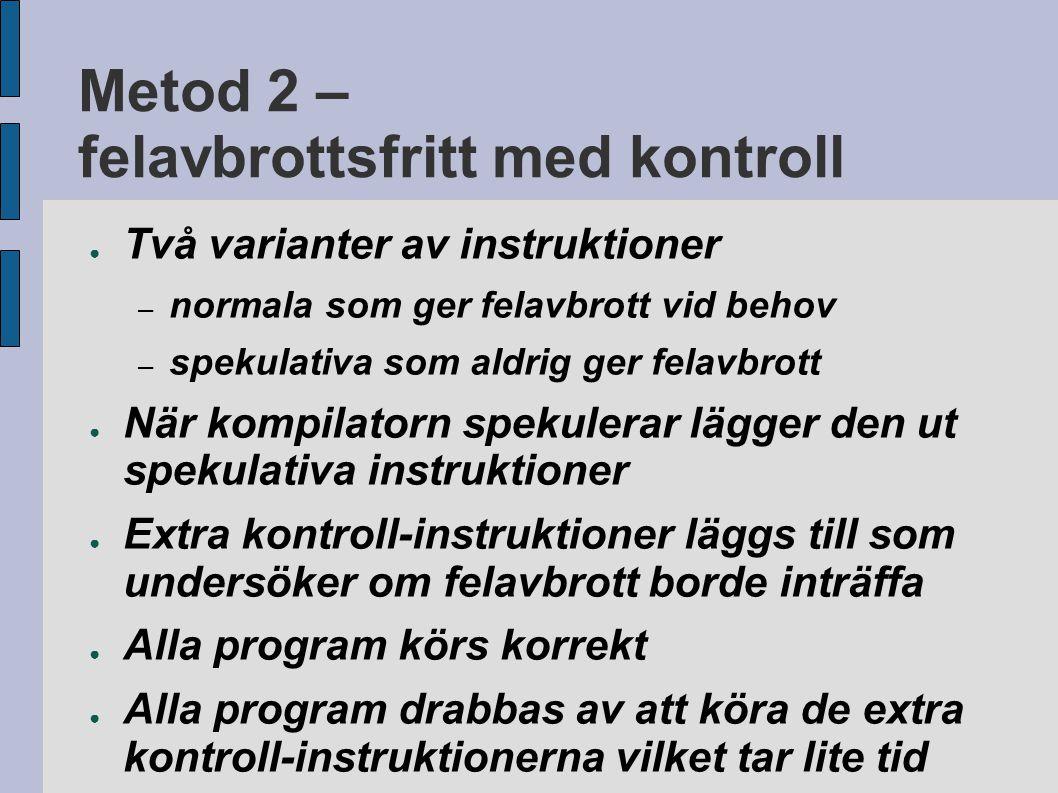 Metod 2 – felavbrottsfritt med kontroll ● Två varianter av instruktioner – normala som ger felavbrott vid behov – spekulativa som aldrig ger felavbrot