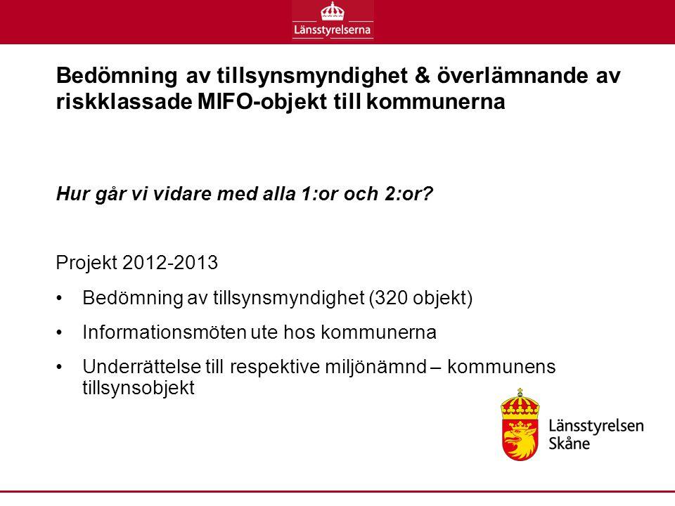 Bedömning av tillsynsmyndighet & överlämnande av riskklassade MIFO-objekt till kommunerna Hur går vi vidare med alla 1:or och 2:or.