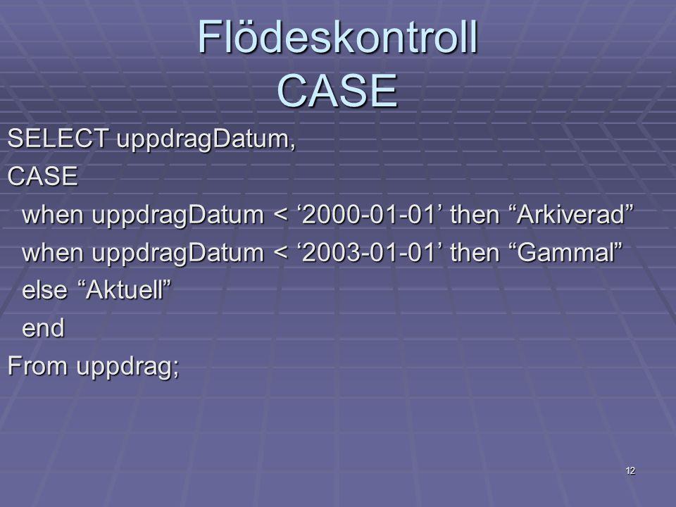 """12 Flödeskontroll CASE SELECT uppdragDatum, CASE when uppdragDatum < '2000-01-01' then """"Arkiverad"""" when uppdragDatum < '2000-01-01' then """"Arkiverad"""" w"""