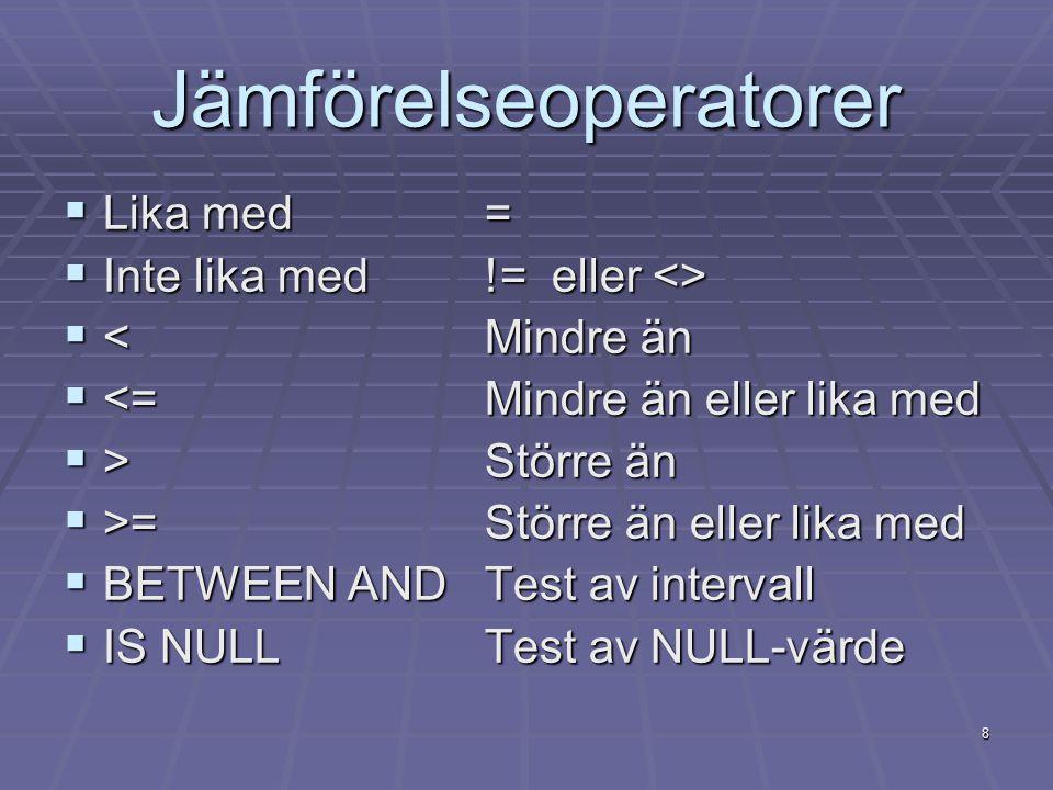 8 Jämförelseoperatorer  Lika med=  Inte lika med != eller <>  <Mindre än  <=Mindre än eller lika med  >Större än  >=Större än eller lika med  B