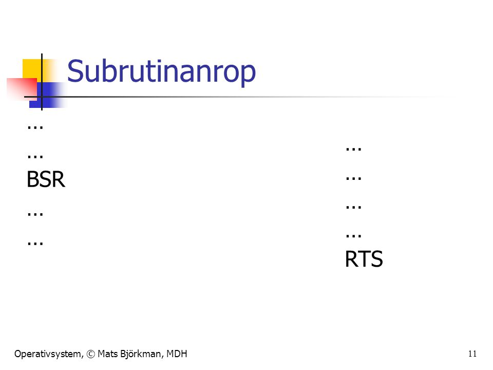 Operativsystem, © Mats Björkman, MDH 11 Subrutinanrop … BSR … RTS