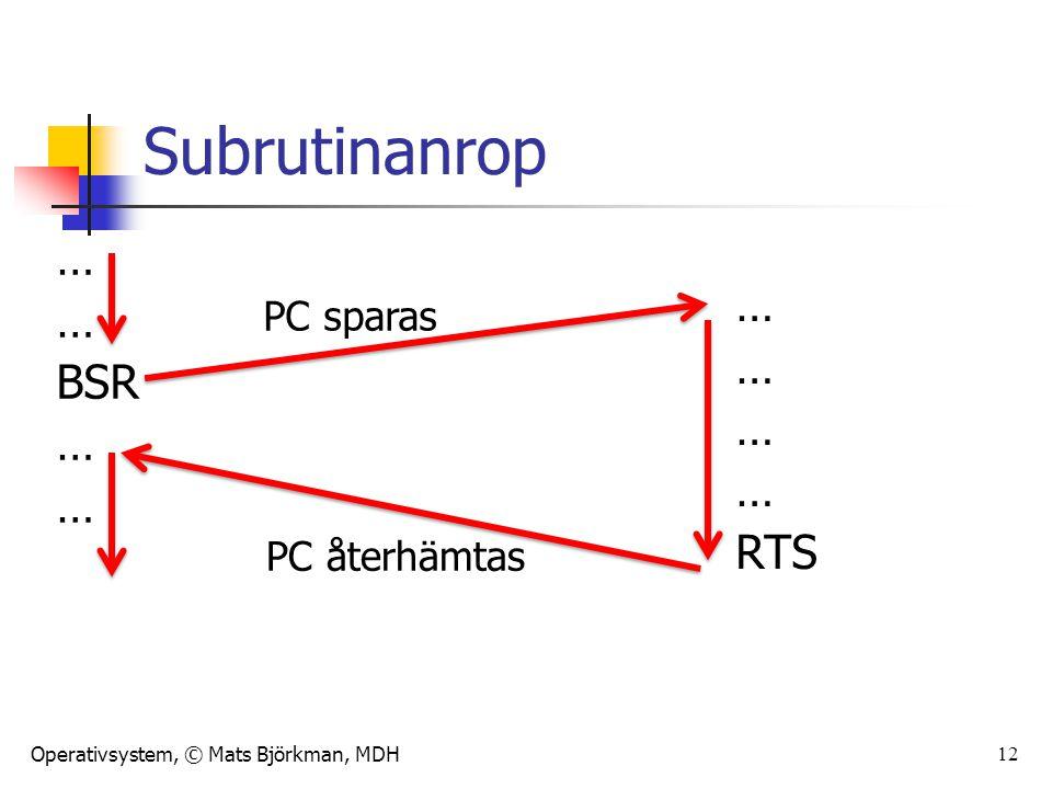 Operativsystem, © Mats Björkman, MDH 12 Subrutinanrop … BSR … RTS PC sparas PC återhämtas