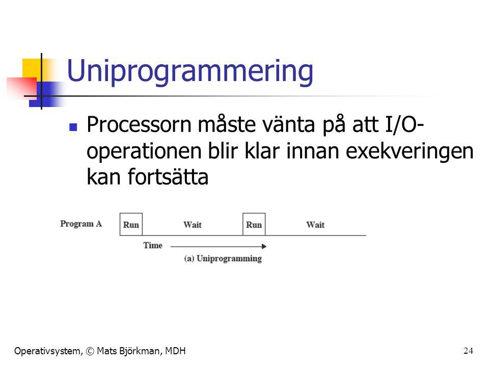 Operativsystem, © Mats Björkman, MDH Multiprogrammering När ett jobb (en process) måste vänta på I/O, kan processorn byta till ett annat jobb (process) 25