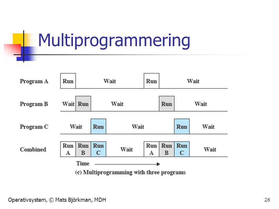 Operativsystem, © Mats Björkman, MDH 27 Olika modeller för multitasking Cooperative multitasking – processerna talar själva om när de vill att någon annan skall få exekvera Preemptive multitasking – OS:et avbryter processen när det är dags för en annan process att få exekvera