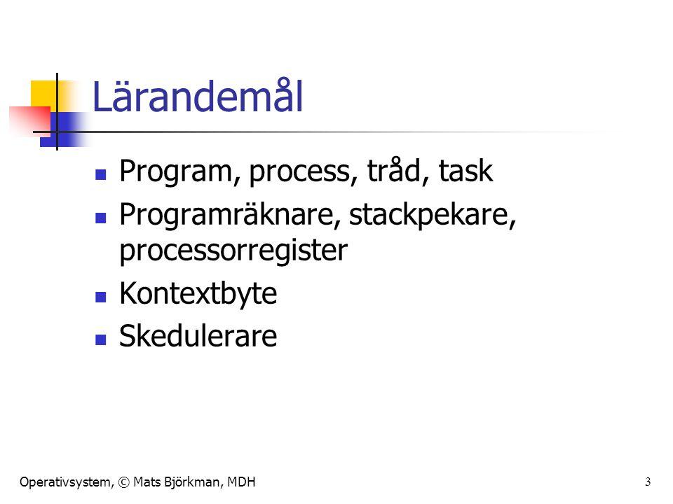 Operativsystem, © Mats Björkman, MDH 3 Lärandemål Program, process, tråd, task Programräknare, stackpekare, processorregister Kontextbyte Skedulerare