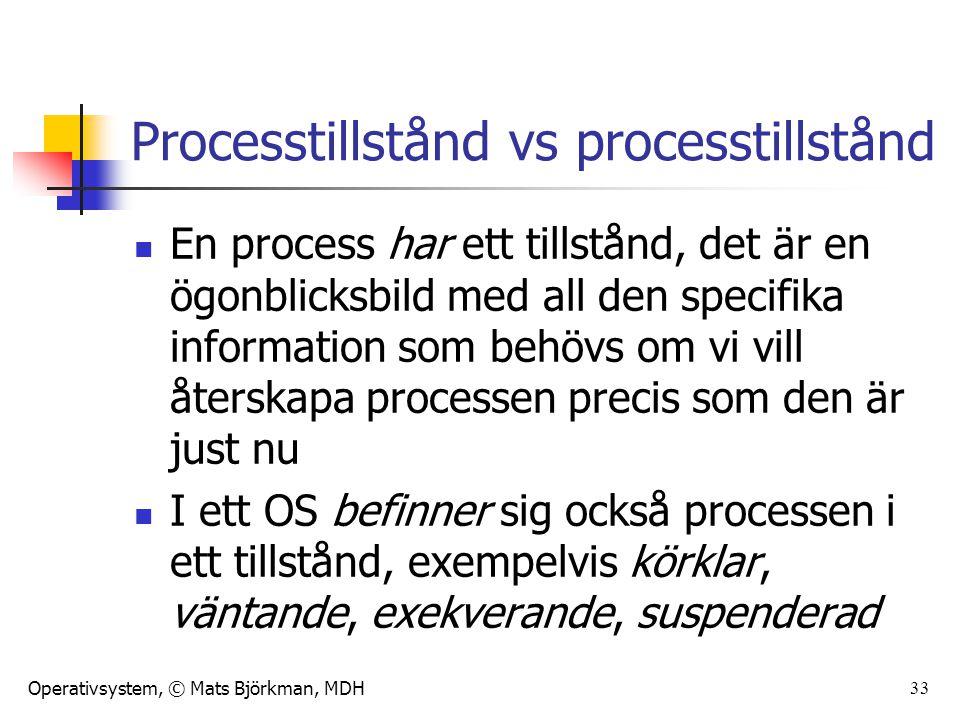 Operativsystem, © Mats Björkman, MDH 33 Processtillstånd vs processtillstånd En process har ett tillstånd, det är en ögonblicksbild med all den specif
