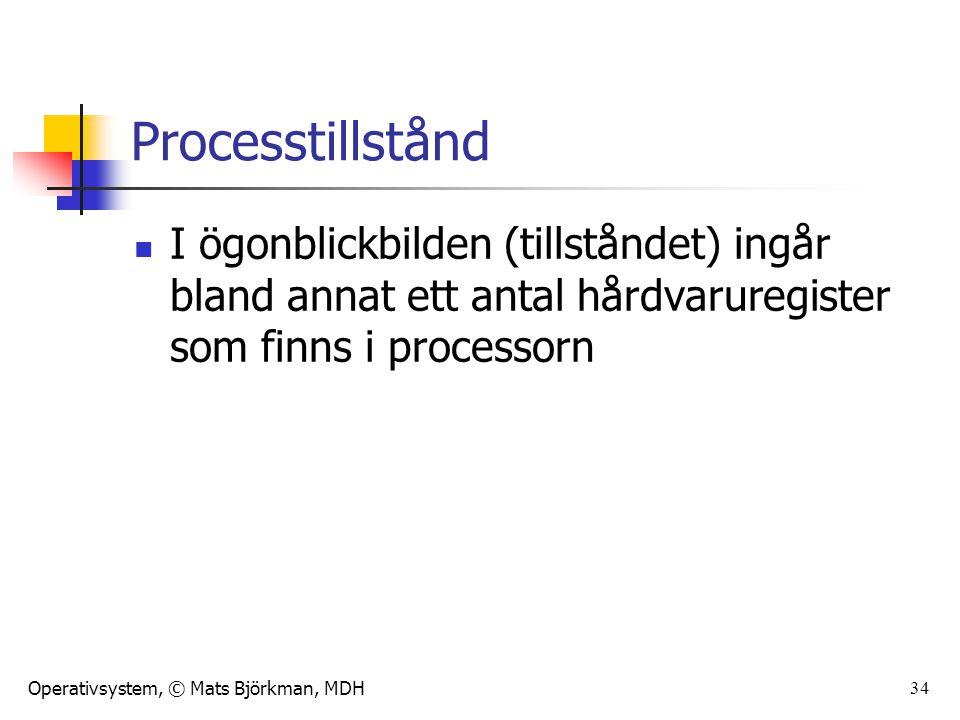Operativsystem, © Mats Björkman, MDH 34 Processtillstånd I ögonblickbilden (tillståndet) ingår bland annat ett antal hårdvaruregister som finns i proc