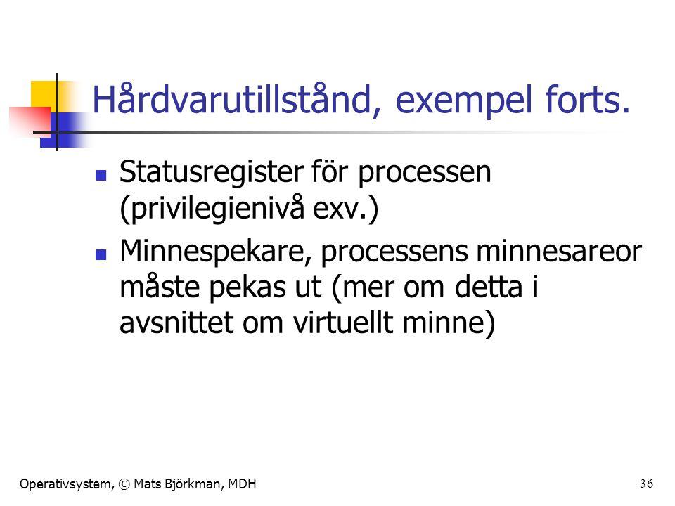 Operativsystem, © Mats Björkman, MDH 37 Processer i OS Operativsystemet hanterar processer genom att: Skapa processer Kontrollera processer Byta mellan processer Avbryta processer Avsluta processer Kommunicera med processer och mellan processer Hålla rätt på processtillstånd