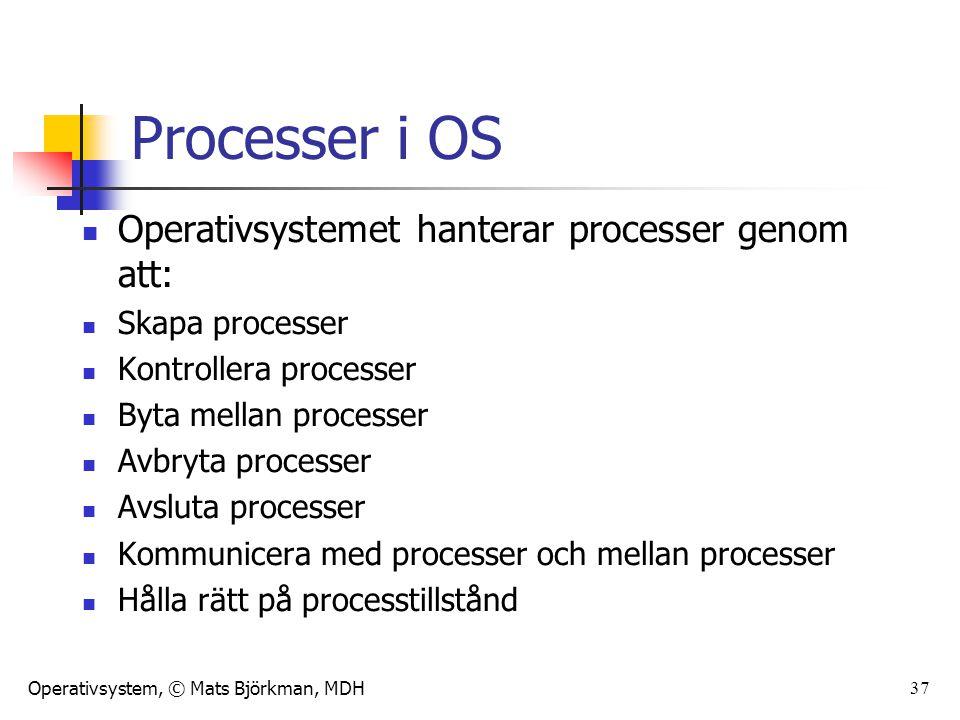 Operativsystem, © Mats Björkman, MDH 37 Processer i OS Operativsystemet hanterar processer genom att: Skapa processer Kontrollera processer Byta mella