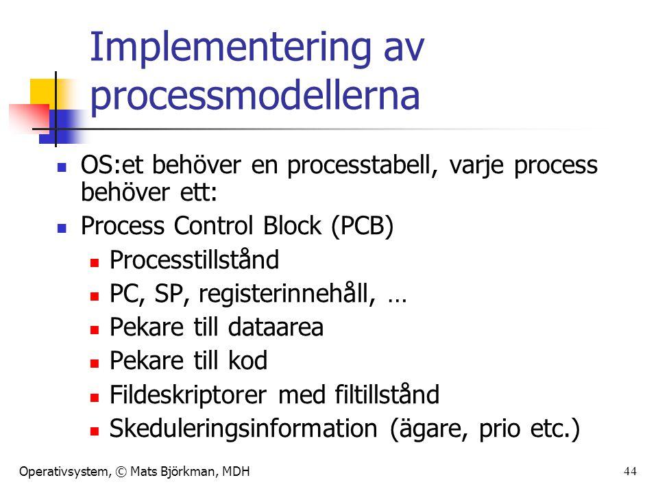 Operativsystem, © Mats Björkman, MDH 44 Implementering av processmodellerna OS:et behöver en processtabell, varje process behöver ett: Process Control