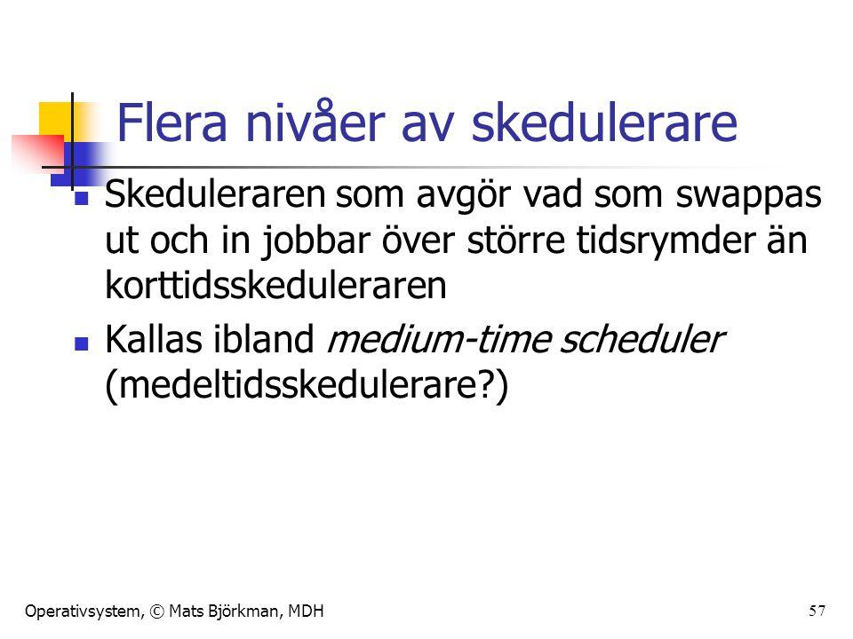 Operativsystem, © Mats Björkman, MDH Flera nivåer av skedulerare Skeduleraren som avgör vad som swappas ut och in jobbar över större tidsrymder än kor