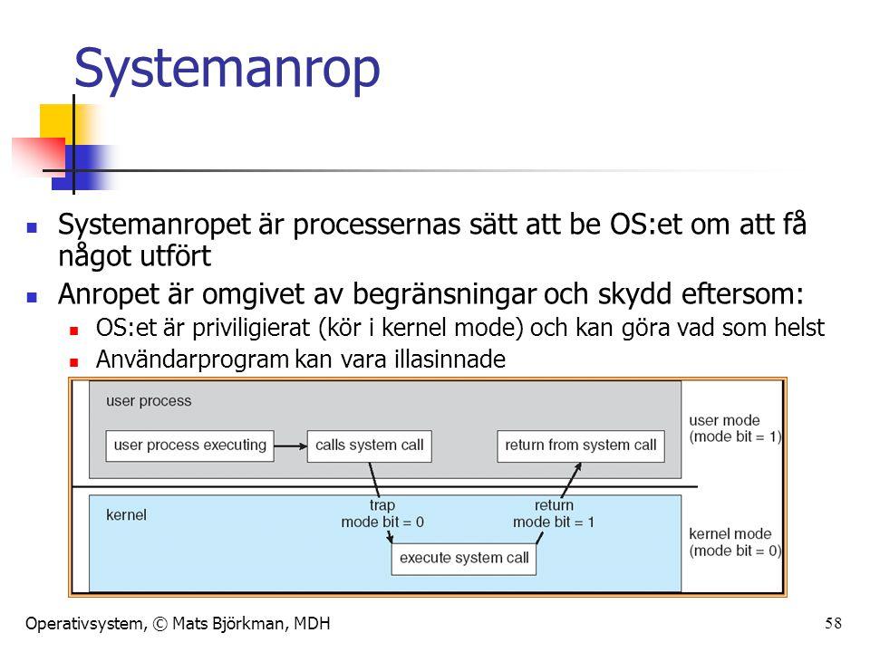 Operativsystem, © Mats Björkman, MDH 58 Systemanrop Systemanropet är processernas sätt att be OS:et om att få något utfört Anropet är omgivet av begrä