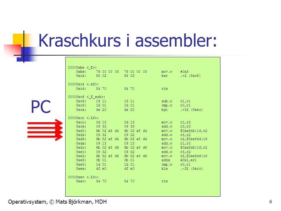 Operativsystem, © Mats Björkman, MDH 6 Kraschkurs i assembler: 00008abe : 8abe:79 00 00 05 79 00 00 05 mov.w#0x5 8ac2:55 02 55 02 bsr.+2 (8ac6) 00008a