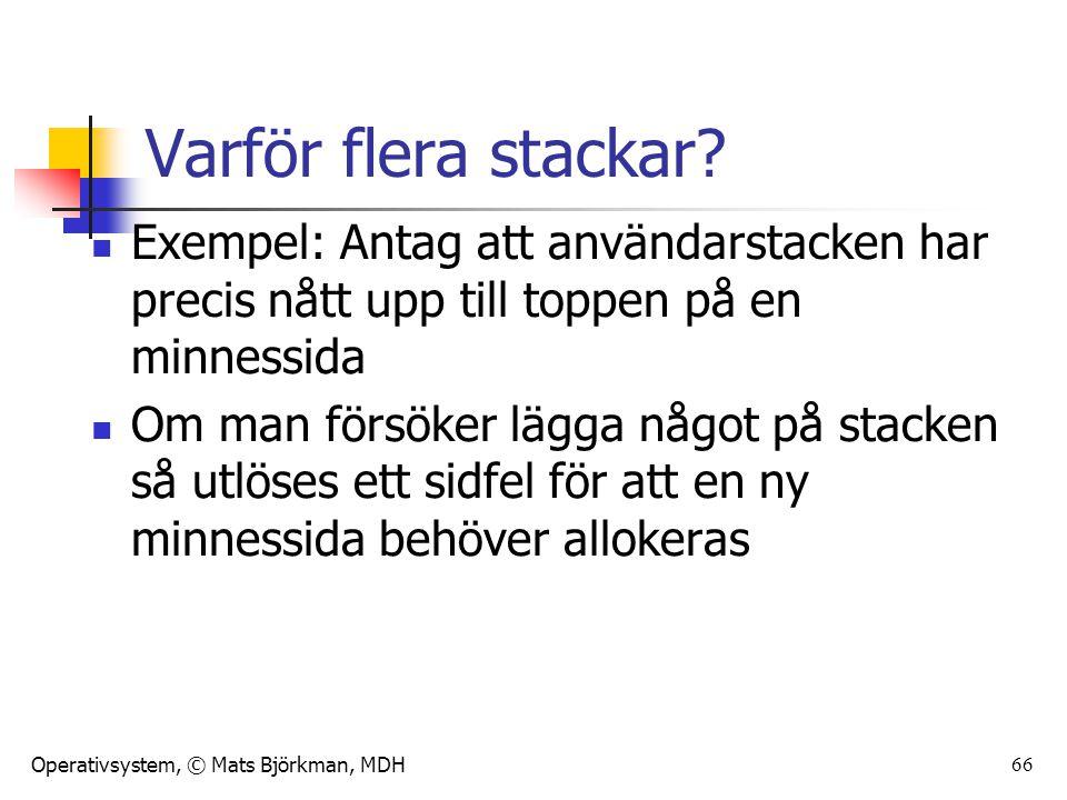 Operativsystem, © Mats Björkman, MDH Varför flera stackar? Exempel: Antag att användarstacken har precis nått upp till toppen på en minnessida Om man