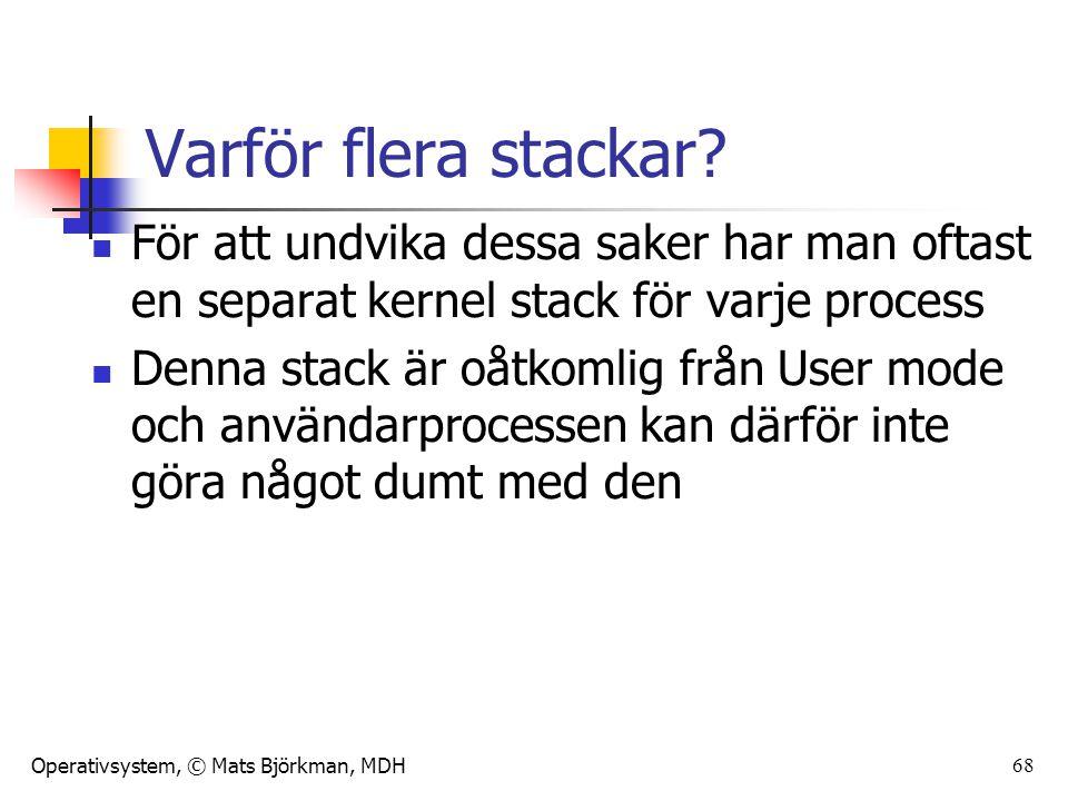 Operativsystem, © Mats Björkman, MDH Varför flera stackar? För att undvika dessa saker har man oftast en separat kernel stack för varje process Denna