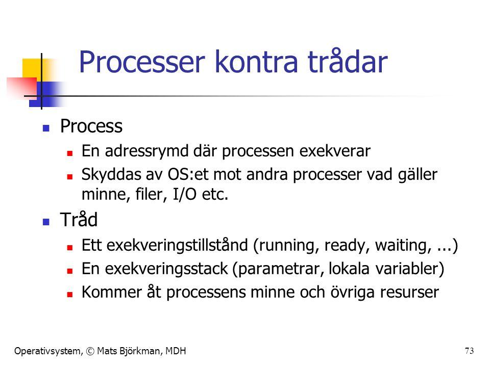 Operativsystem, © Mats Björkman, MDH Processer kontra trådar Process En adressrymd där processen exekverar Skyddas av OS:et mot andra processer vad gä