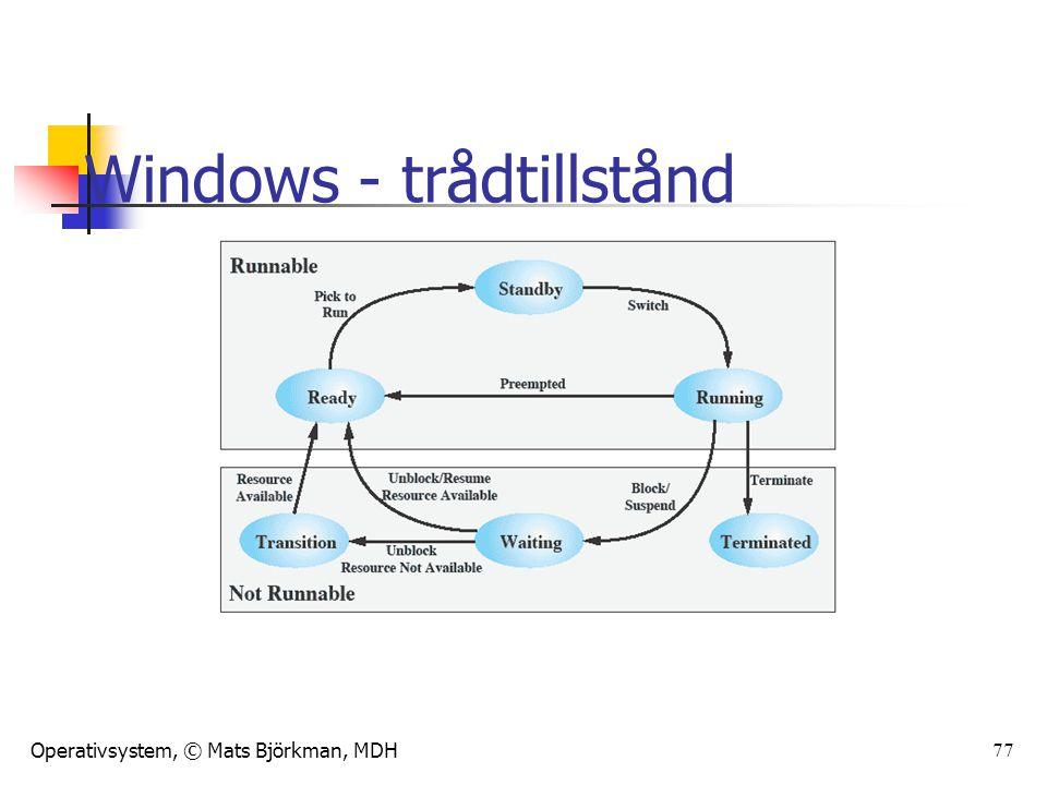 Operativsystem, © Mats Björkman, MDH 78 Tasks Används ibland i realtidssystem som ett alternativt namn på processer I vissa språk (Ada exv.) är tasks benämningen på trådar I Linux är tasks enheten som OS:et skedulerar