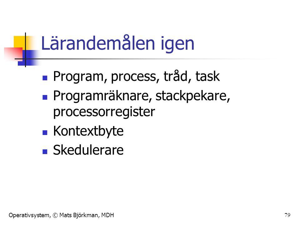 Operativsystem, © Mats Björkman, MDH 79 Lärandemålen igen Program, process, tråd, task Programräknare, stackpekare, processorregister Kontextbyte Sked