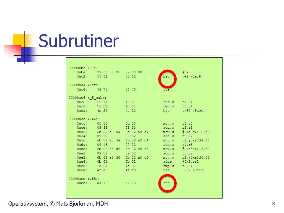 Operativsystem, © Mats Björkman, MDH 8 Subrutiner 00008abe : 8abe:79 00 00 05 79 00 00 05 mov.w#0x5 8ac2:55 02 55 02 bsr.+2 (8ac6) 00008ac4 : 8ac4:54