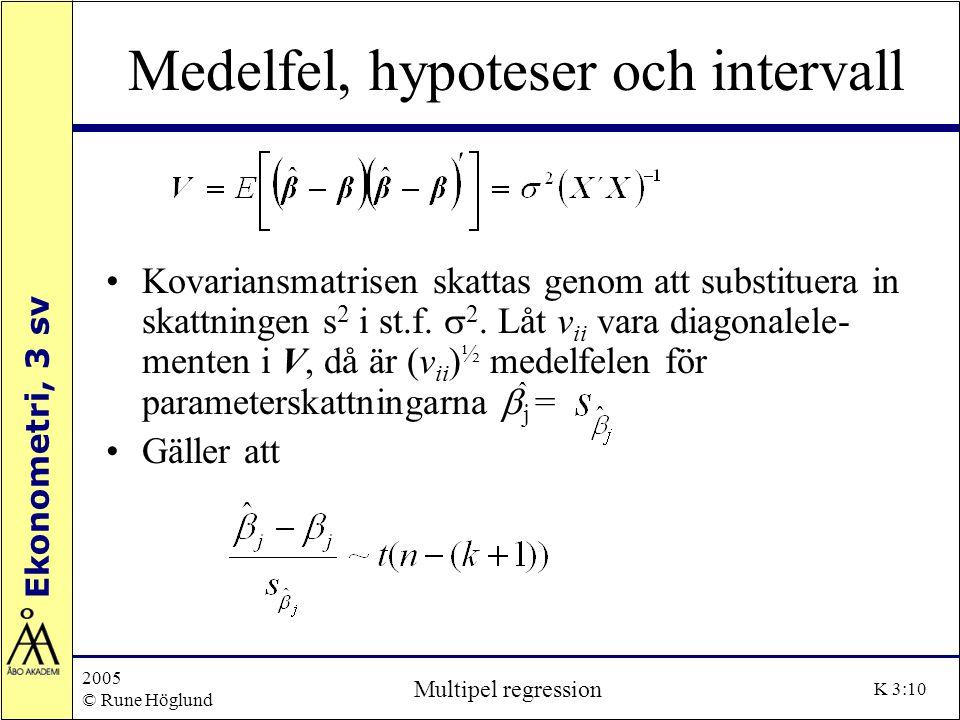 Ekonometri, 3 sv 2005 © Rune Höglund Multipel regression K 3:10 Medelfel, hypoteser och intervall Kovariansmatrisen skattas genom att substituera in s