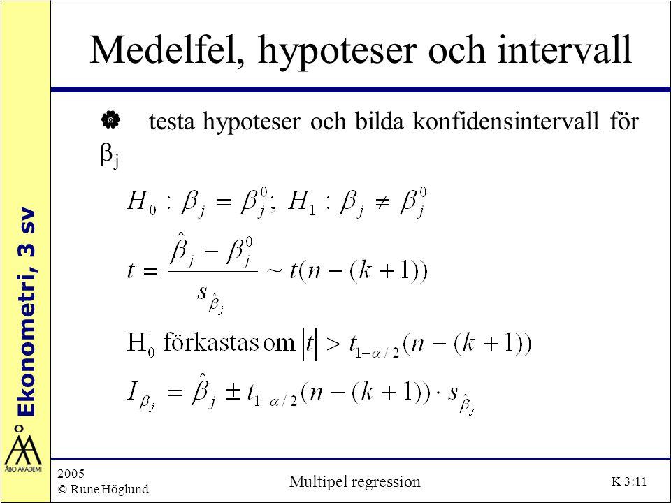 Ekonometri, 3 sv 2005 © Rune Höglund Multipel regression K 3:11 Medelfel, hypoteser och intervall | testa hypoteser och bilda konfidensintervall för 