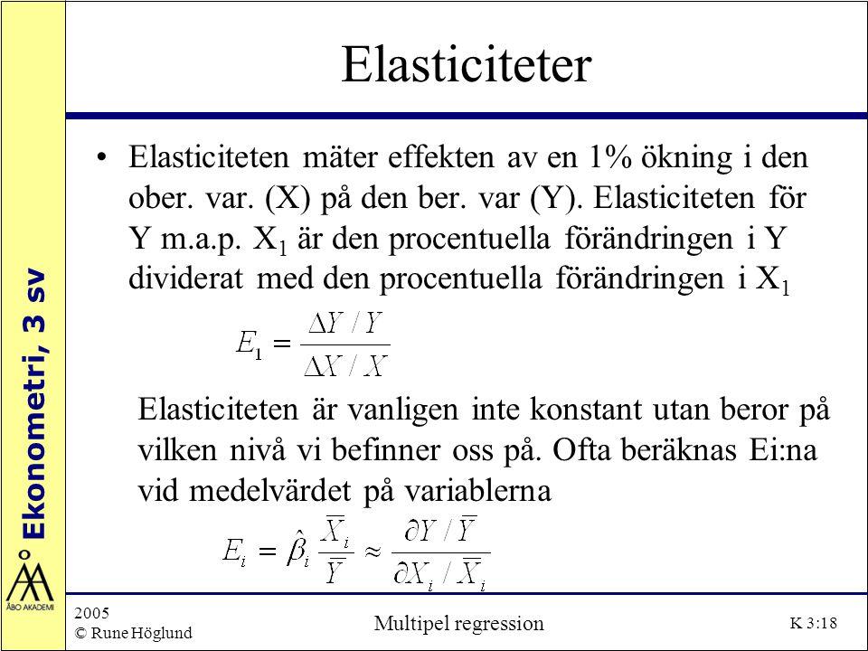 Ekonometri, 3 sv 2005 © Rune Höglund Multipel regression K 3:18 Elasticiteter Elasticiteten mäter effekten av en 1% ökning i den ober. var. (X) på den