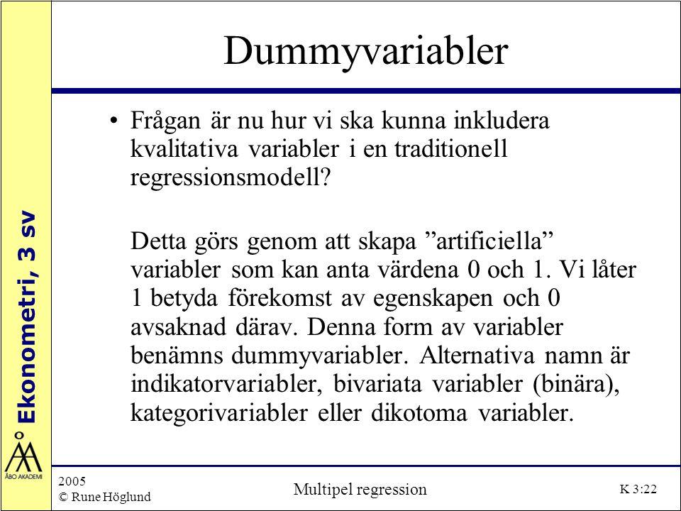 Ekonometri, 3 sv 2005 © Rune Höglund Multipel regression K 3:22 Dummyvariabler Frågan är nu hur vi ska kunna inkludera kvalitativa variabler i en trad