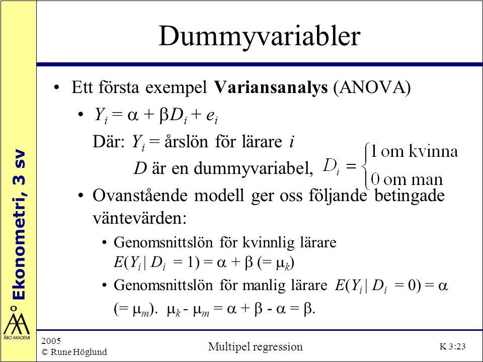 Ekonometri, 3 sv 2005 © Rune Höglund Multipel regression K 3:23 Dummyvariabler Ett första exempel Variansanalys (ANOVA) Y i =  +  D i + e i Där: Y i
