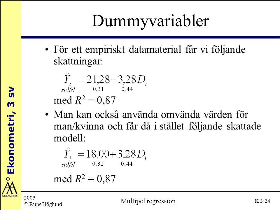 Ekonometri, 3 sv 2005 © Rune Höglund Multipel regression K 3:24 Dummyvariabler För ett empiriskt datamaterial får vi följande skattningar : med R 2 =