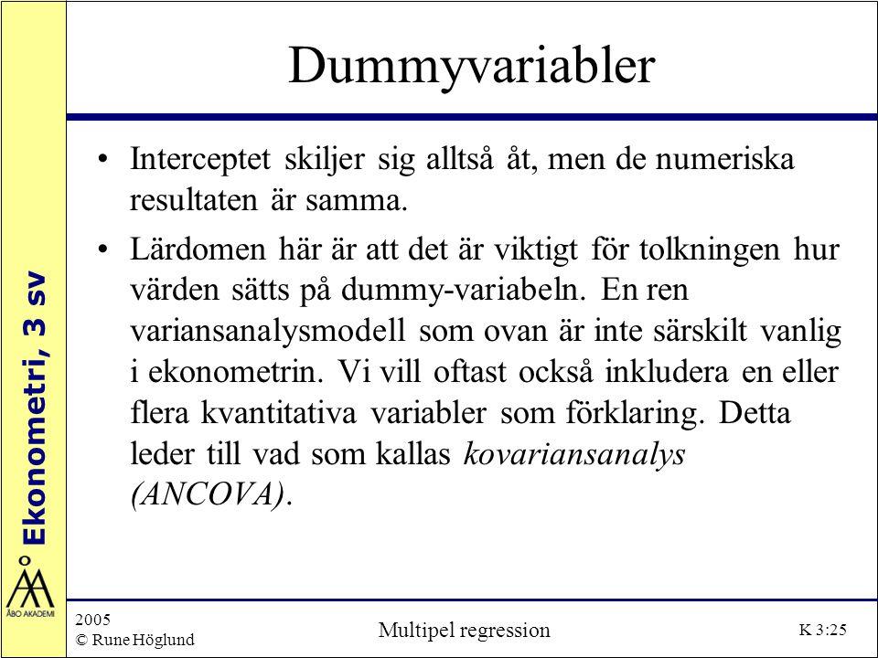 Ekonometri, 3 sv 2005 © Rune Höglund Multipel regression K 3:25 Dummyvariabler Interceptet skiljer sig alltså åt, men de numeriska resultaten är samma