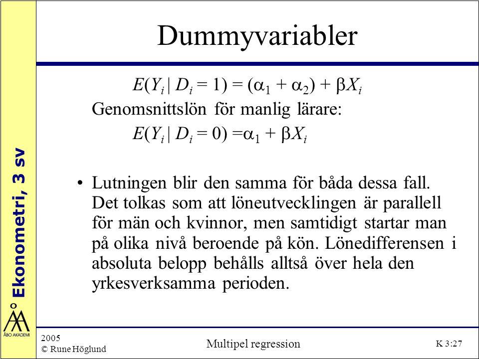 Ekonometri, 3 sv 2005 © Rune Höglund Multipel regression K 3:27 Dummyvariabler E(Y i | D i = 1) = (  1 +  2 ) +  X i Genomsnittslön för manlig lära