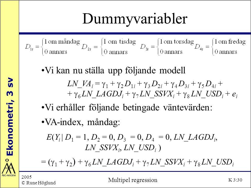 Ekonometri, 3 sv 2005 © Rune Höglund Multipel regression K 3:30 Dummyvariabler Vi kan nu ställa upp följande modell LN_VA i =  1 +  2 D 1i +  3 D 2