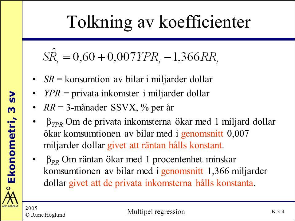 Ekonometri, 3 sv 2005 © Rune Höglund Multipel regression K 3:15 R 2, justerat R 2 och F-test H 0 : alla  = 0 (utom interceptet), H 1 : åtminstone något   0 kan vi göra ett F-test Testvariabeln är som är F-fördelad men k, respektive n-(k+1) frihetsgrader.
