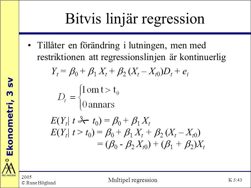 Ekonometri, 3 sv 2005 © Rune Höglund Multipel regression K 3:43 Bitvis linjär regression Tillåter en förändring i lutningen, men med restriktionen att