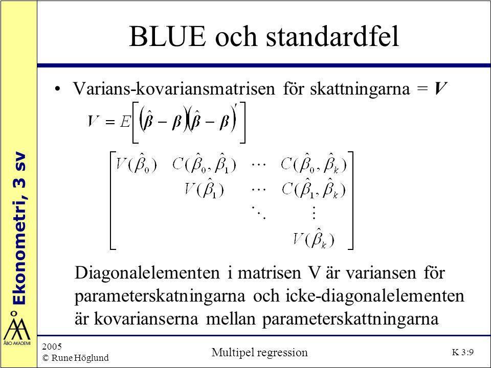 Ekonometri, 3 sv 2005 © Rune Höglund Multipel regression K 3:30 Dummyvariabler Vi kan nu ställa upp följande modell LN_VA i =  1 +  2 D 1i +  3 D 2i +  4 D 3i +  5 D 4i + +  6 LN_LAGDJ i +  7 LN_SSVX i +  8 LN_USD i + e i Vi erhåller följande betingade väntevärden: VA-index, måndag: E(Y i | D 1 = 1, D 2 = 0, D 3 = 0, D 4 = 0, LN_LAGDJ i, LN_SSVX i, LN_USD i ) = (  1 +  2 ) +  6 LN_LAGDJ i +  7 LN_SSVX i +  8 LN_USD i