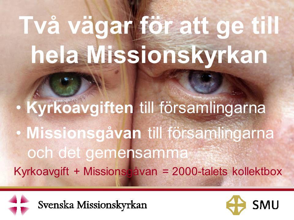 Två vägar för att ge till hela Missionskyrkan Kyrkoavgiften till församlingarna Missionsgåvan till församlingarna och det gemensamma Kyrkoavgift + Missionsgåvan = 2000-talets kollektbox