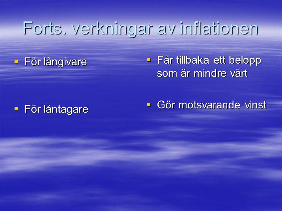 Forts. verkningar av inflationen  För långivare  För låntagare  Får tillbaka ett belopp som är mindre värt  Gör motsvarande vinst
