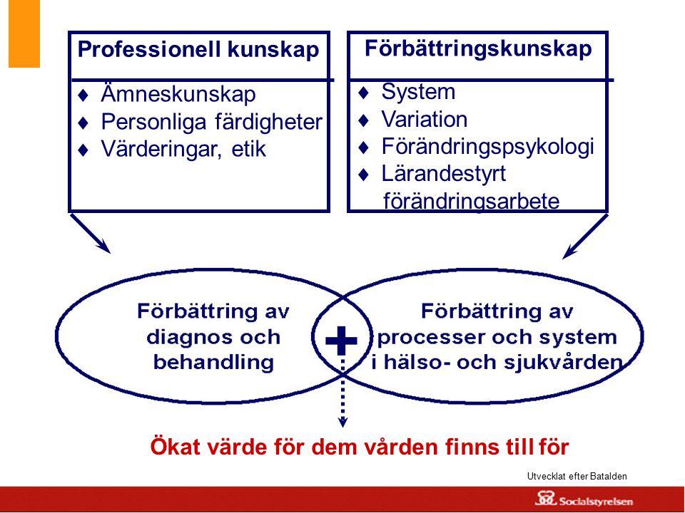 www.skane.se/Utvecklingscentrum Ökat värde för dem vården finns till för Utvecklat efter Batalden Professionell kunskap  Ämneskunskap  Personliga fä
