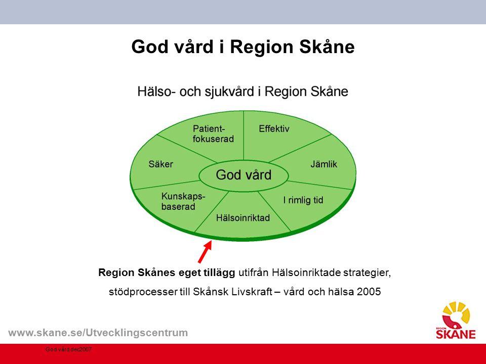 www.skane.se/Utvecklingscentrum God vård i Region Skåne God vård dec2007 Region Skånes eget tillägg utifrån Hälsoinriktade strategier, stödprocesser t