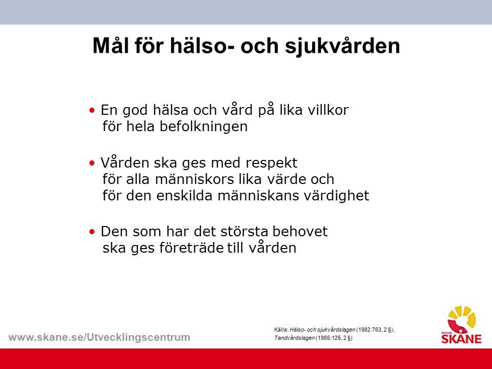 www.skane.se/Utvecklingscentrum Mål för hälso- och sjukvården Källa: Hälso- och sjukvårdslagen (1982:763, 2 §), Tandvårdslagen (1985:125, 2 §) En god