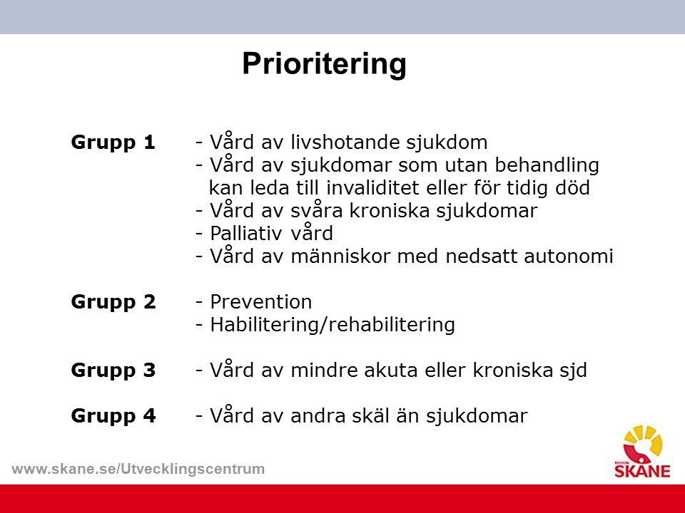 www.skane.se/Utvecklingscentrum Grupp 1- Vård av livshotande sjukdom - Vård av sjukdomar som utan behandling kan leda till invaliditet eller för tidig
