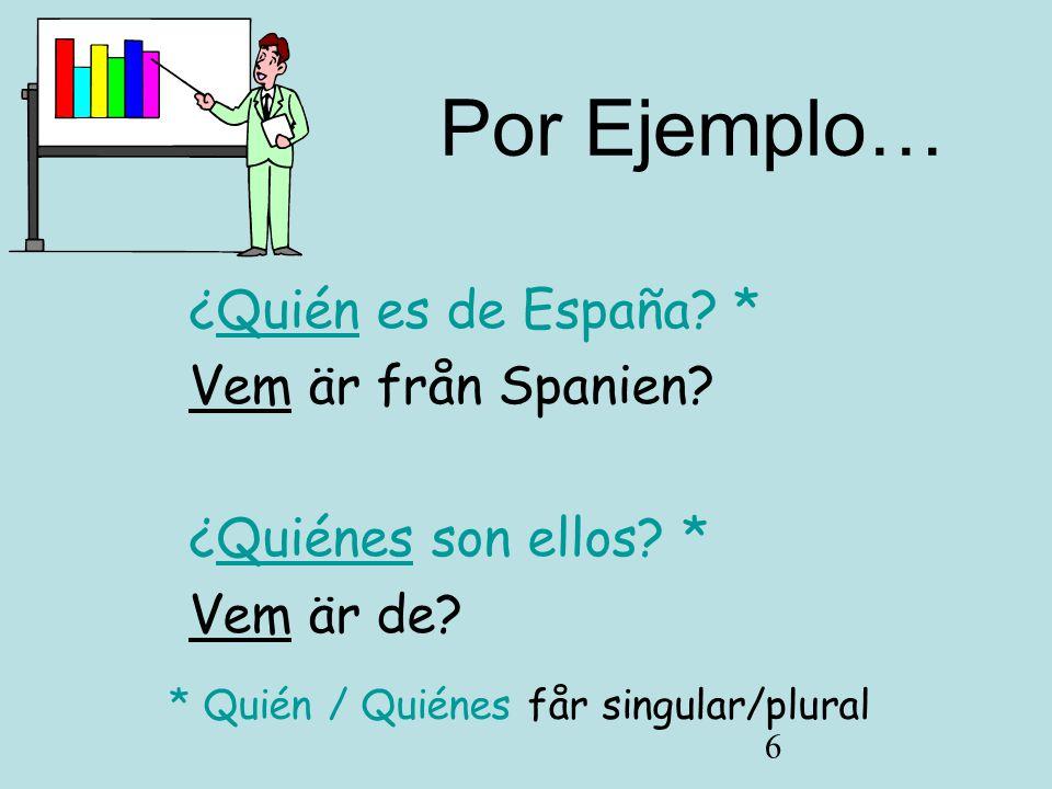 6 Por Ejemplo… ¿Quién es de España.* Vem är från Spanien.