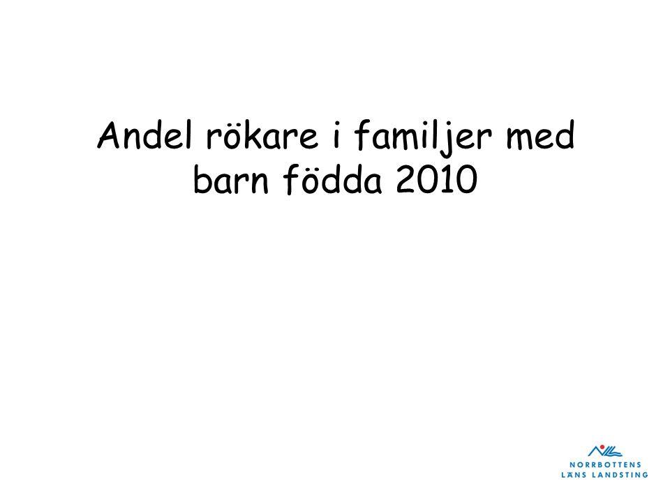 Andel rökare i familjer med barn födda 2010