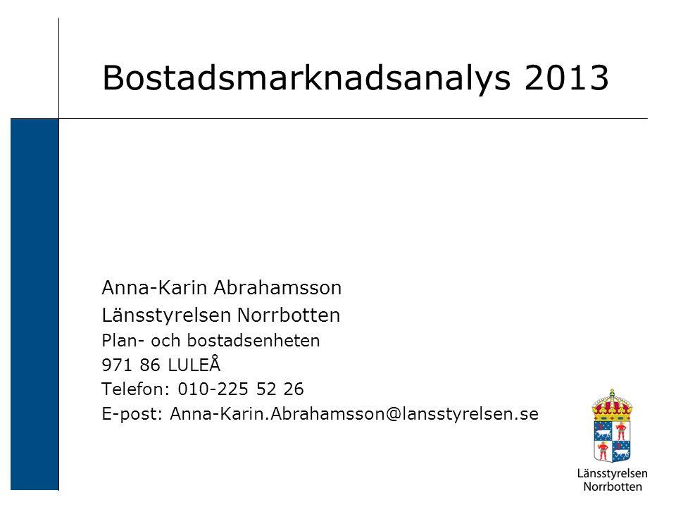 Bostadsmarknadsanalys 2013 Anna-Karin Abrahamsson Länsstyrelsen Norrbotten Plan- och bostadsenheten 971 86 LULEÅ Telefon: 010-225 52 26 E-post: Anna-K