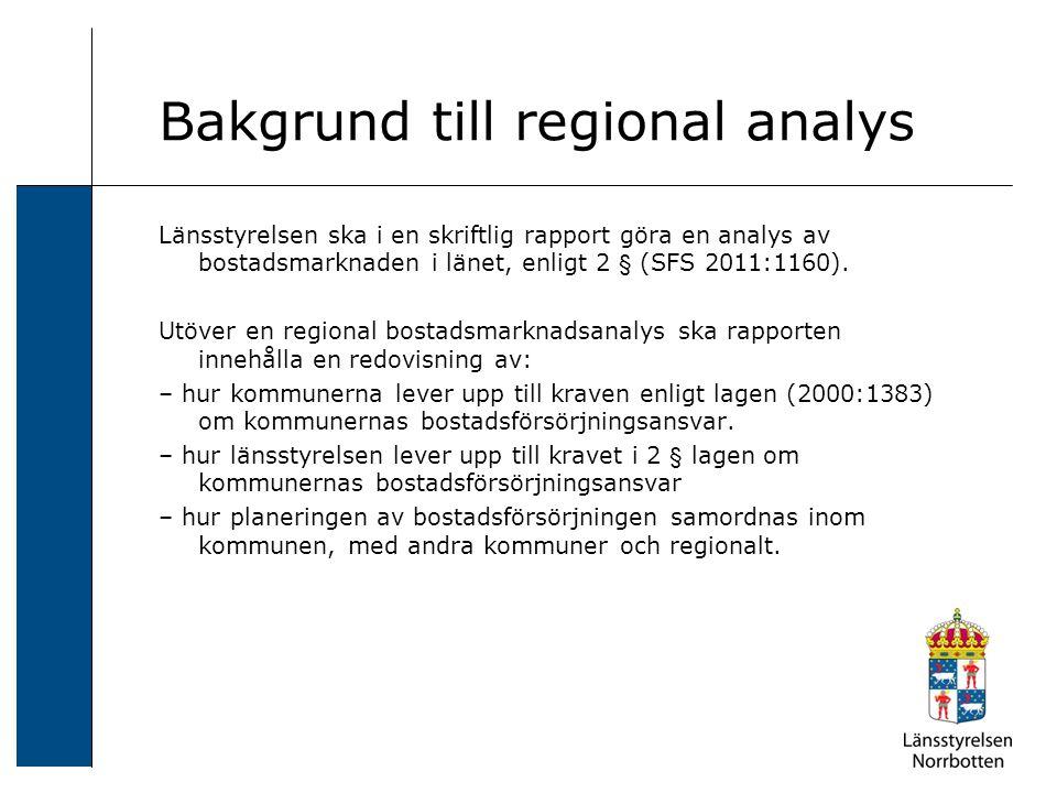 Bakgrund till regional analys Länsstyrelsen ska i en skriftlig rapport göra en analys av bostadsmarknaden i länet, enligt 2 § (SFS 2011:1160). Utöver