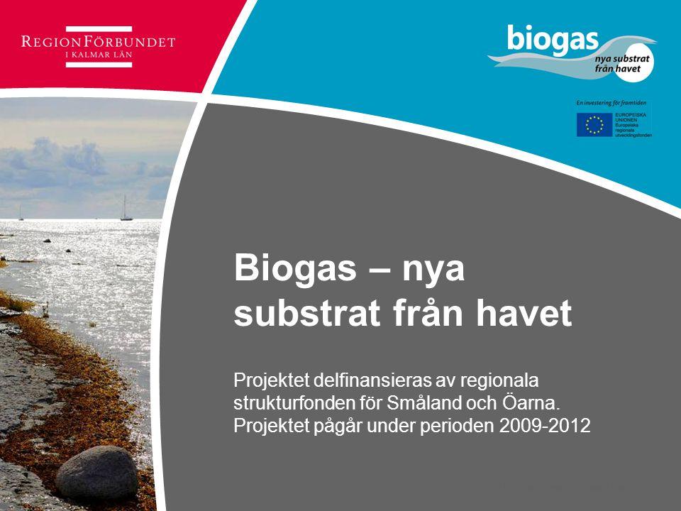 © Regionförbundet i Kalmar län 2007 Biogas – nya substrat från havet Projektet delfinansieras av regionala strukturfonden för Småland och Öarna. Proje