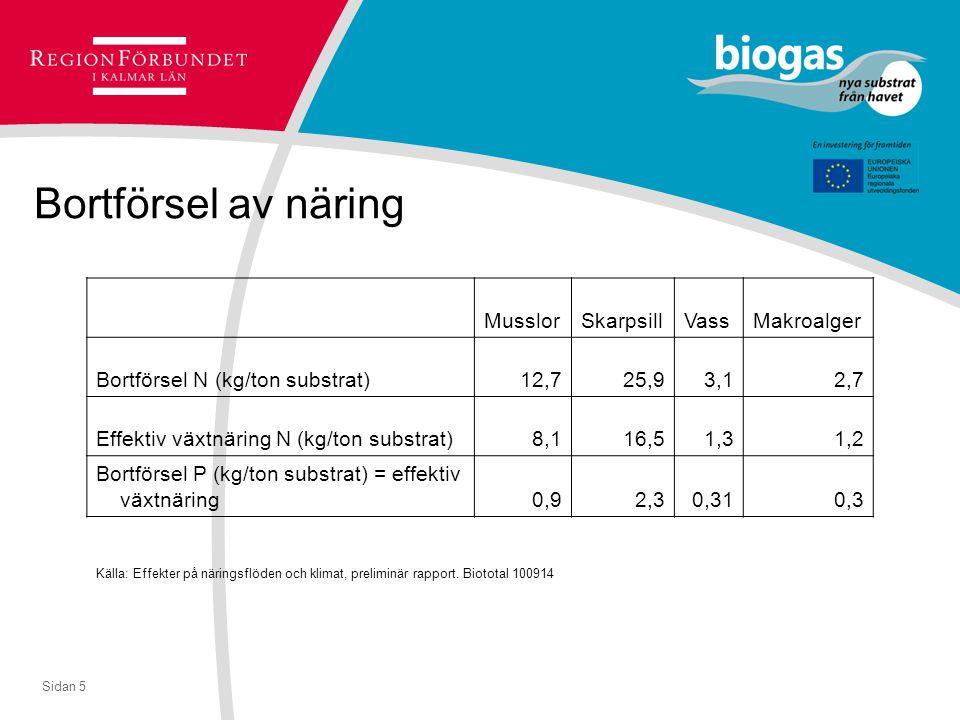 Sidan 5 Bortförsel av näring MusslorSkarpsillVassMakroalger Bortförsel N (kg/ton substrat)12,725,93,12,7 Effektiv växtnäring N (kg/ton substrat)8,116,